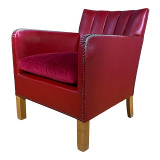 1940s Danish Red Leather Channel-Back Easy Chair For Sale