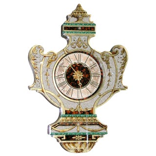 Fanciful Eglomise Electric Wall Clock For Sale