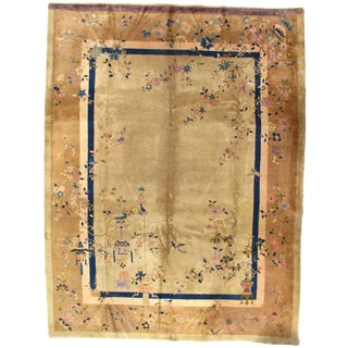 Early 20th Century Antique Chinese Art Deco Area Rug - 9′1″ × 11′10″ For Sale