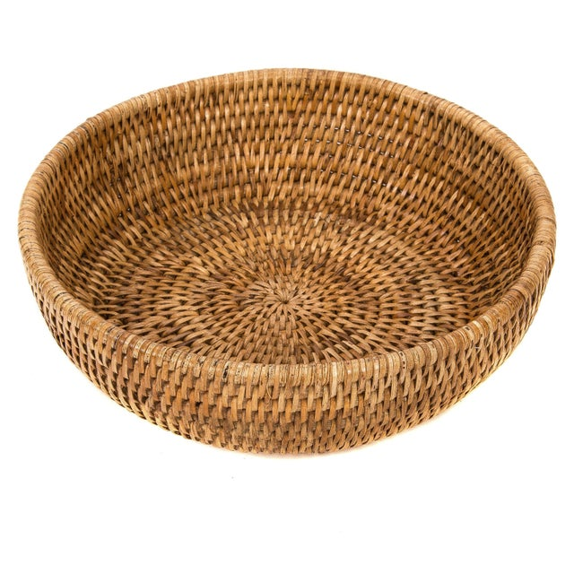 Boho Chic Artifacts Rattan Decorative Bowl For Sale