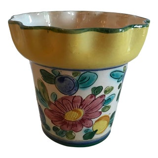 Vintage Italian Hand Painted Ceramic Planter For Sale