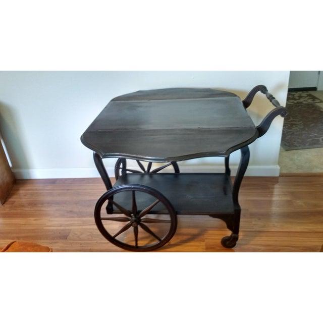 Antique Walnut Tea Cart Trolly - Image 4 of 4