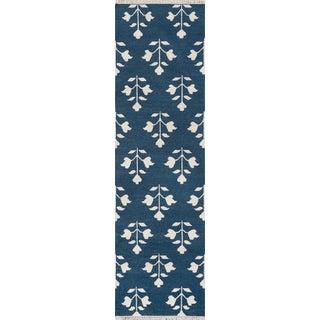 "Erin Gates Thompson Grove Navy Hand Woven Wool Runner 2'3"" X 8' For Sale"
