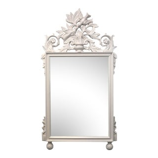 Vintage Light Gray Chinoiserie Mirror
