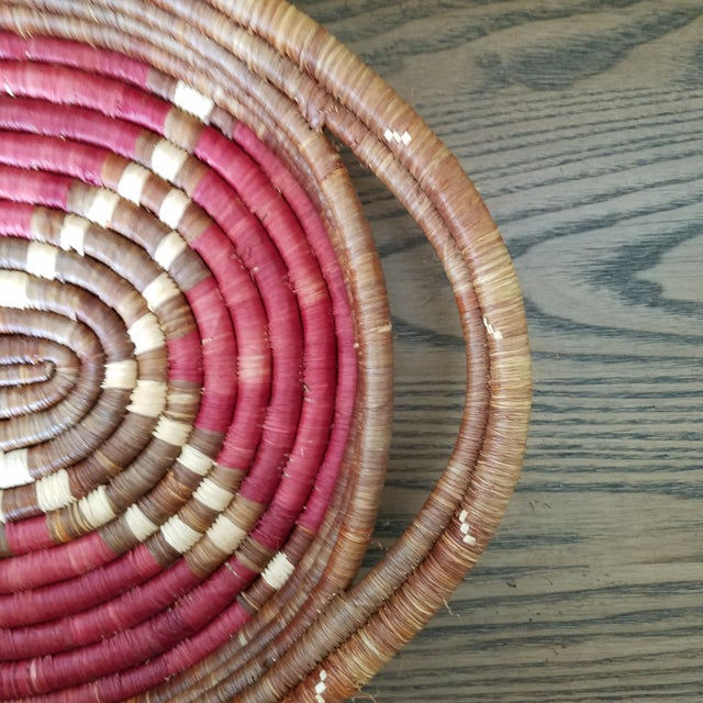 Adirondack Vintage African Coiled Basket Tray For Sale - Image 3 of 6