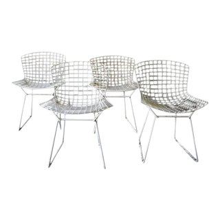 Mid Century Modern Bertoia Chairs, Set of 4 For Sale