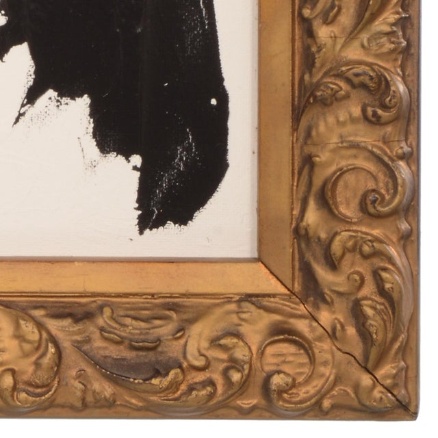 Original Black and White Abstract Painting in Vintage Frame For Sale In Dallas - Image 6 of 8