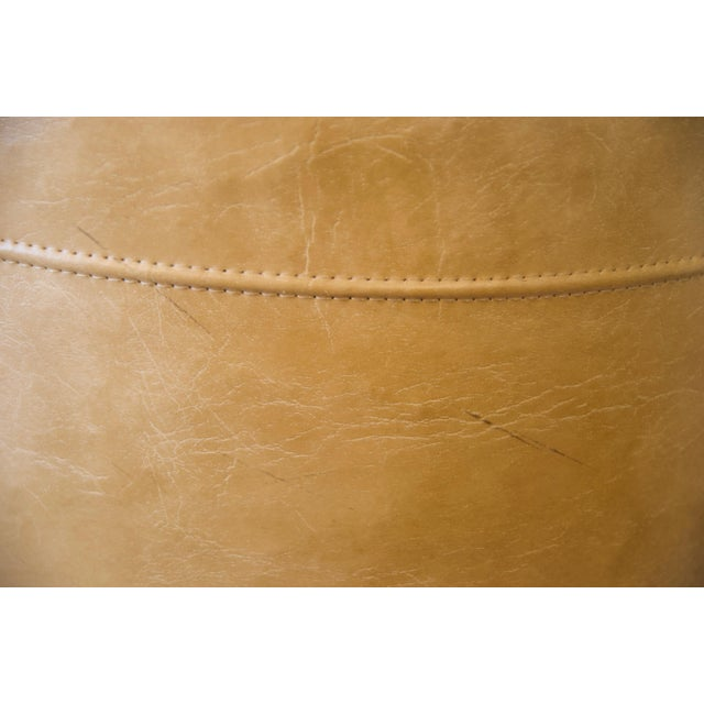 Leather 1970s Leather Moroccan-Style Pouf Ottoman For Sale - Image 7 of 13