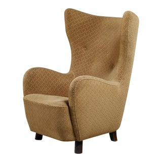 Danish high wingback lounge chair, 1940s For Sale