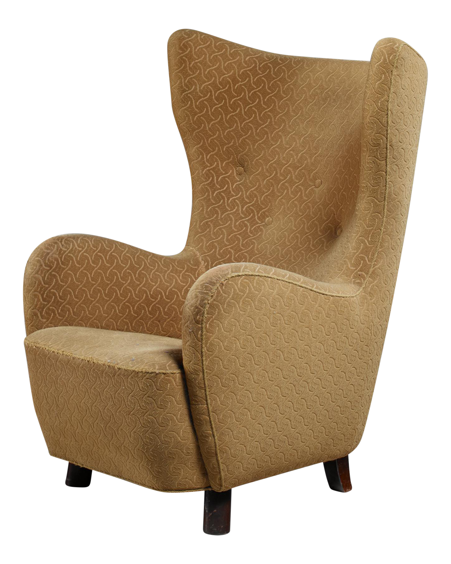 Danish High Wingback Lounge Chair, 1940s   Image 1 Of 8