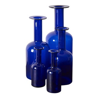 Set of Five Holmegaard Gulv Vases by Otto Brauer in Blue For Sale