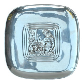 "Art Deco International Silver Co. ""Tropical"" Pattern Tray, c 1940s For Sale"