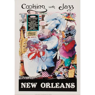 Leo Meiersdorff Cooking With Jazz, New Orleans Poster, C.1980s For Sale