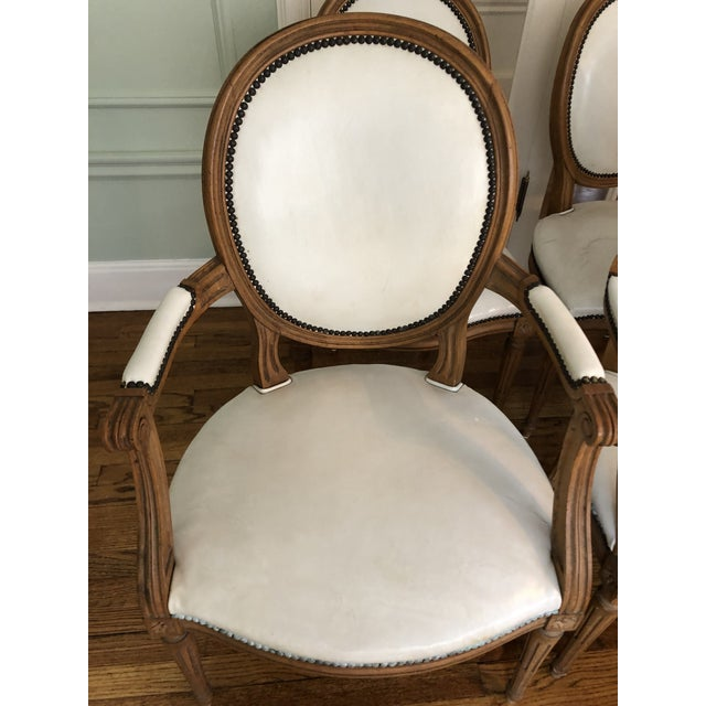 Hollywood Regency 1960s Vintage Baker Furniture Leather Dining Chairs-Set of 8 For Sale - Image 3 of 12