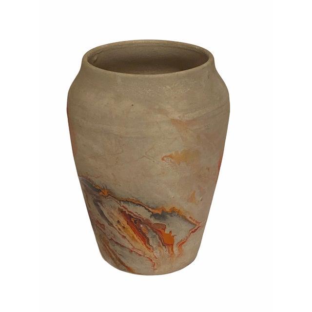 Vintage Nemad Indian Orange Brown Pottery Vase For Sale - Image 9 of 10