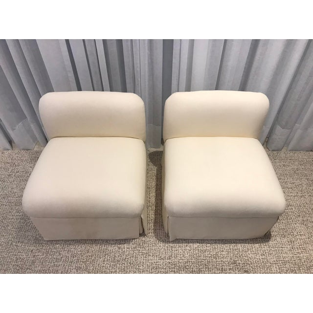 Pair of Pearson Perching Chairs recently reupholstered with Pindler fabric
