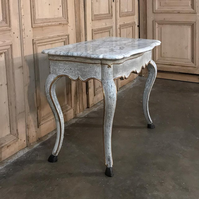 Wood 19th Century Swedish Painted Marble Top Console For Sale - Image 7 of 13