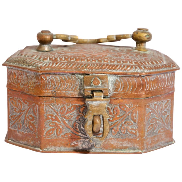 Anglo-Indian Handcrafted Tinned Copper Metal Spices Caddy Box For Sale - Image 13 of 13