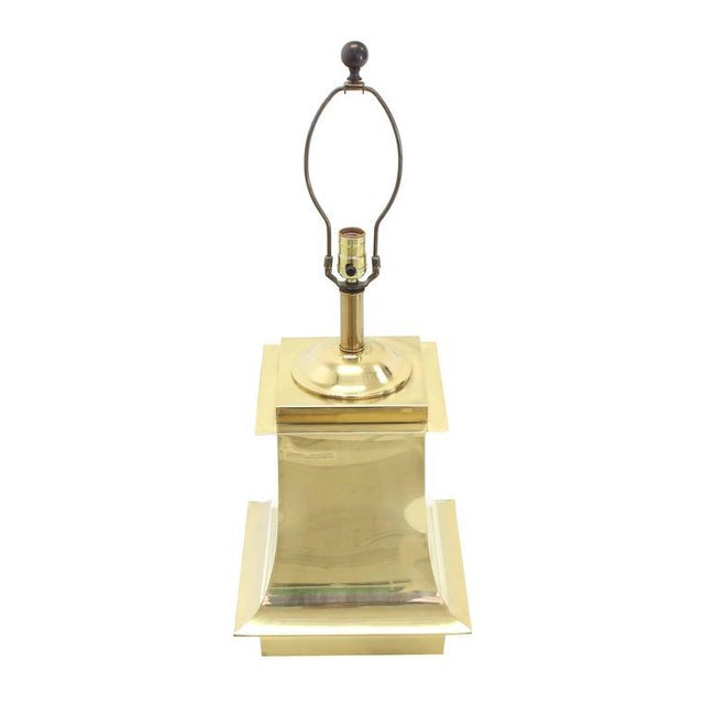 Brass Mid-Century Modern Brass Beads Shade & Brass Base Table Lamps -A Pair For Sale - Image 7 of 8