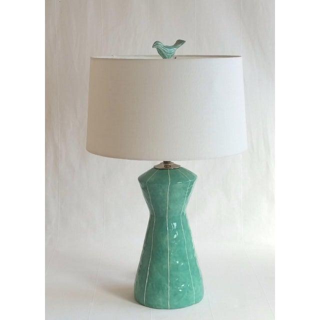 Jade Green Ceramic Bird Finial For Sale - Image 4 of 6