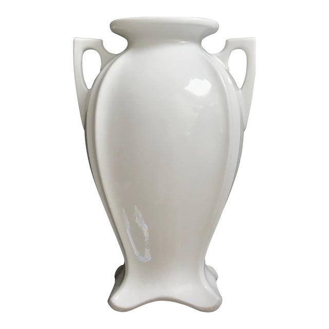 Vintage Blanc De Chine Glazed White Neoclassical Vase With Handles