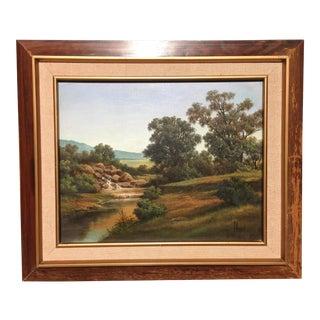 Vintage J Orozco Landscape Framed Painting For Sale