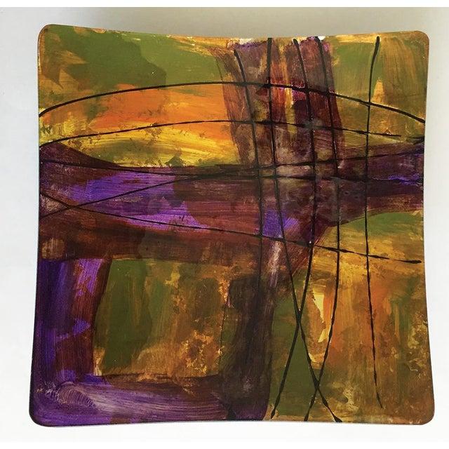 Purple, Green & Yellow Hand-Blown Plate - Image 2 of 4