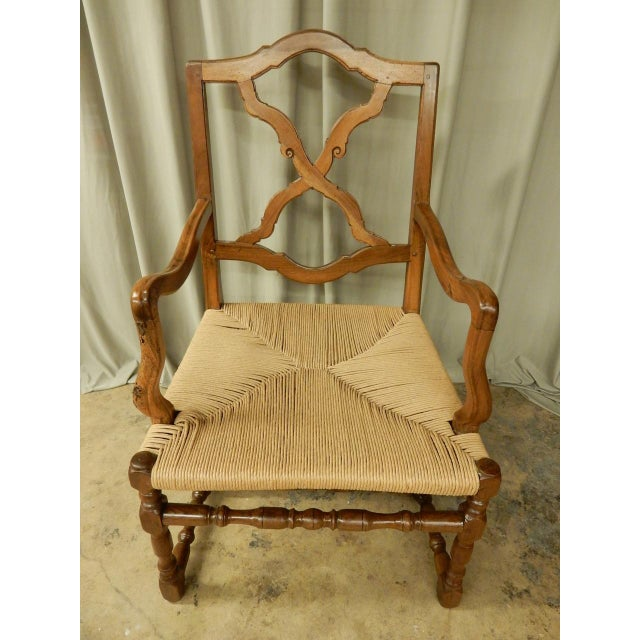 Elegant country chair carefully restored with new rush seat.