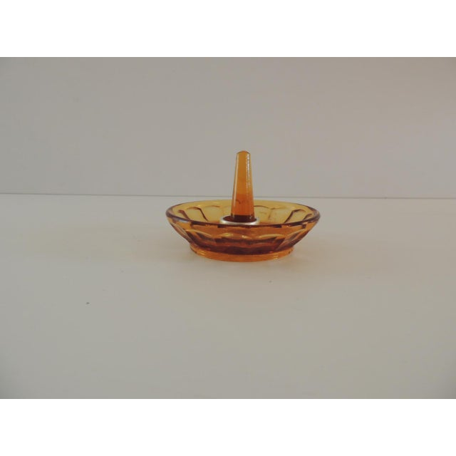Boho Chic Round Amber Color Glass Ring Holder For Sale - Image 3 of 5
