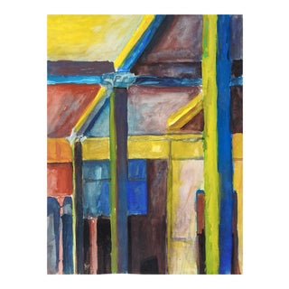 Interior Structural Abstract Gouache Painting by Preot Buxton