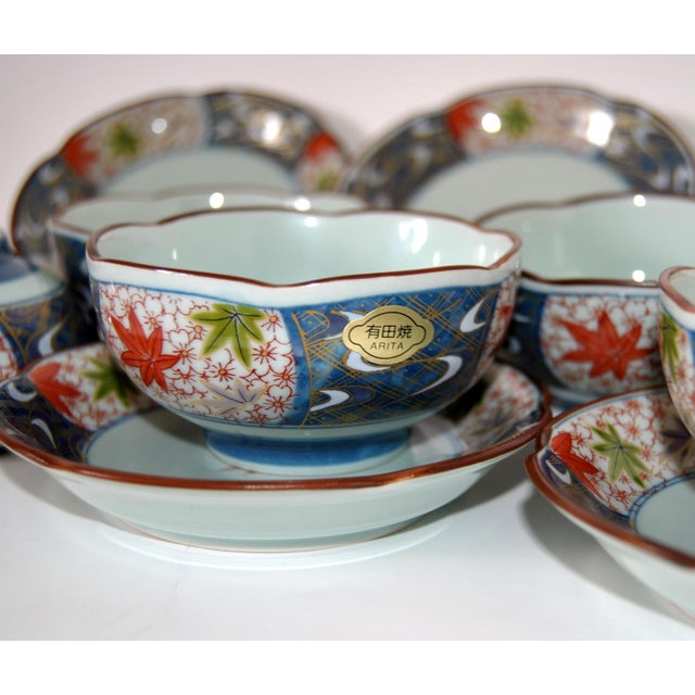 Asian Vintage Cherry Blossom Shaped Celadon Arita Imari Cups, Saucers & Box - Set of 10 For Sale - Image 3 of 9