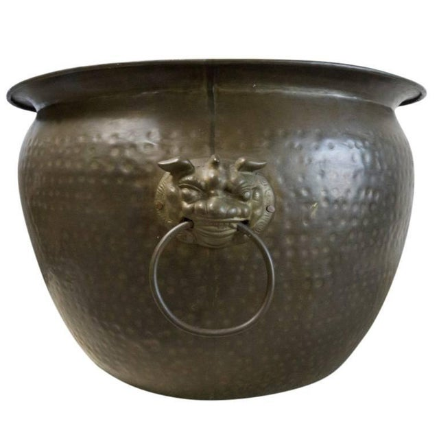 Asian Antique Hand Beaten Brass Vessel, Circa 1930 For Sale - Image 3 of 7