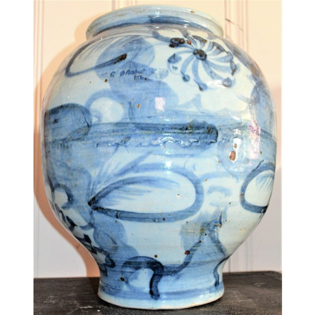Chinoiserie Chinoiserie Blue and White Abstract Lotus Vase For Sale - Image 3 of 6