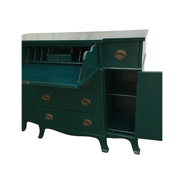 Teal Lacquered Secretary Desk - Image 5 of 7