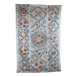 Antique 19th Century Suzani Panel Wall Hanging For Sale