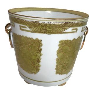 Mid-20th Century Chinese Lime and Gold Cachepot