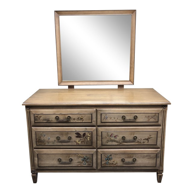 Vintage Handpainted Dresser + Mirror, From Herald Furniture For Sale
