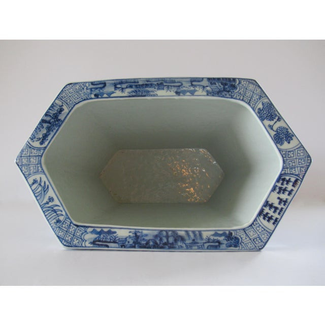 Chinoiserie Blue & White Hexagonal Jardiniere For Sale - Image 9 of 13