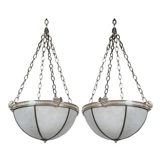 Caldwell Silver Plated Leaded Glass Light Fixtures with Interior Lights - a Pair For Sale