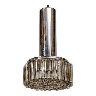 Mid-Century Molded Glass and Chrome Pendant Light For Sale