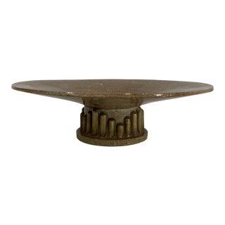 Vintage Tessellated Stone Postmodern Pedestal Bowl For Sale