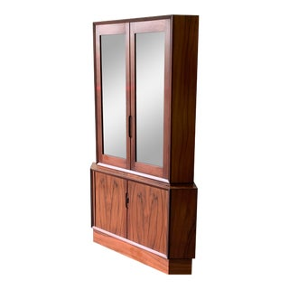 Danish Mid Century Modern Rosewood Corner Bookcase / China Cabinet For Sale