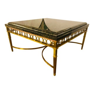 Hollywood Regency Granite Top on Brass Base Center Table For Sale