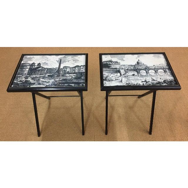 Pair, Mid Century Black Folding X Base tables - Image 4 of 9