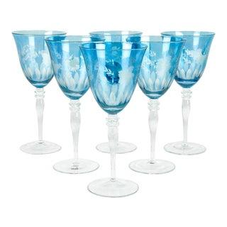 Vintage Etched Crystal Wine Glasses