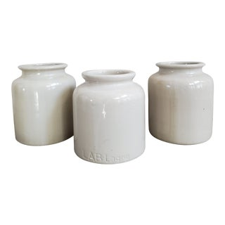 Vintage French Stoneware Mustard Crocks, 3 Piece- Set of 3 For Sale