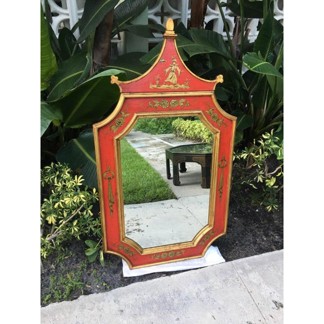 This is an incredible bright red florentine pagoda mirror marked Made In Italy on the back. It is solid wood and in...