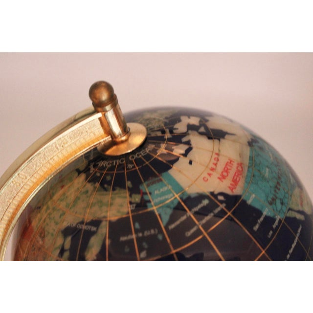 Blue Vintage Blue Lapis World Globe on Brass Stand With Semiprecious Gems For Sale - Image 8 of 10