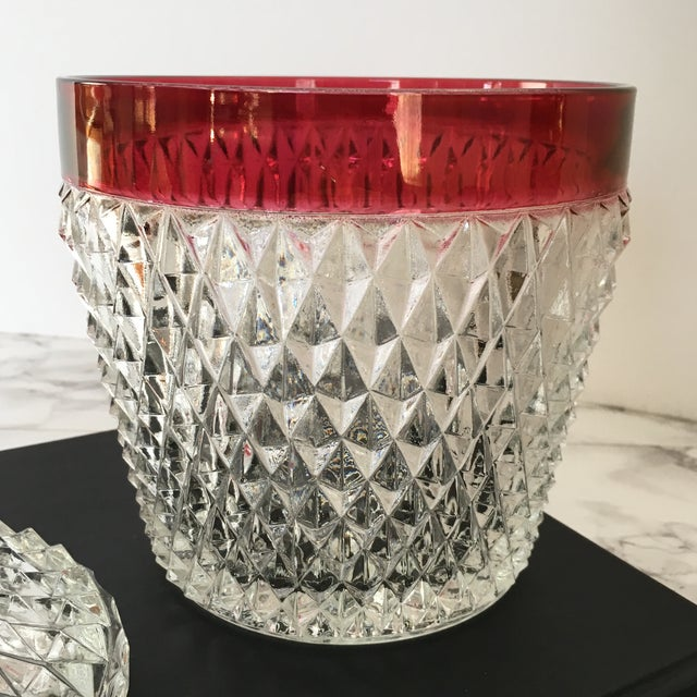Hobnail Glass Ruby Flash Ice Bucket For Sale - Image 9 of 11
