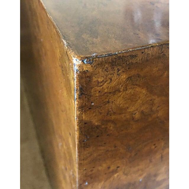 1970s Milo Baughman Burl Wood Large Cube End Table For Sale - Image 10 of 13